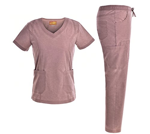 Jeanish Washed Stretch Medical Uniforms TOP&Pants Scrubs Sets JS1604 (M, Camel)