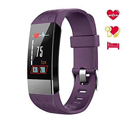 BuTure Fitness Tracker Color Screen, Smart Watch Heart Rate Monitor, IP67 Waterproof Activity Tracker Calorie Counter Pedometer Blood Pressure Sleep Monitor Kids Men Women (Purple3)