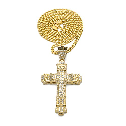Mens Crystal Hip-Hop Cross Pendant 70cm Cuban Necklace Chain (Gold) by M-Money