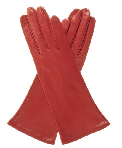 Fratelli Orsini Women's Italian ''4 Button Length'' Silk Lined Leather Gloves Size 8 Color Red by Fratelli Orsini