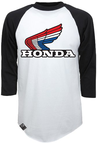 Factory Effex (17-87338) 'HONDA' Vintage Raglan Baseball Shirt (White/Black, XX-Large)
