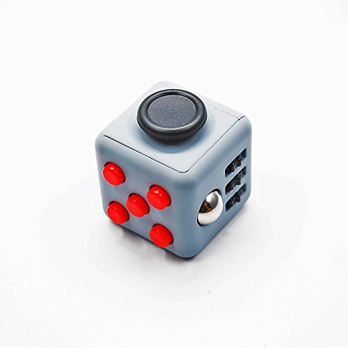 Fidget Cube Toy Relieves Stress ADHD Anxiety And Helps Focusing for Kids & Adults (Dark Grey/Red)