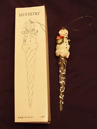 (Silvestri Snowman Glass and Resin Icicle Ornament 6.25 Inches)