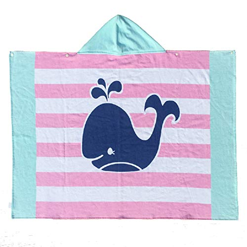 Kids Hooded Bath/Beach Towel Girls Boys Cute Cartoon Animal Full Vitality,100% Cotton (Striped Whale)