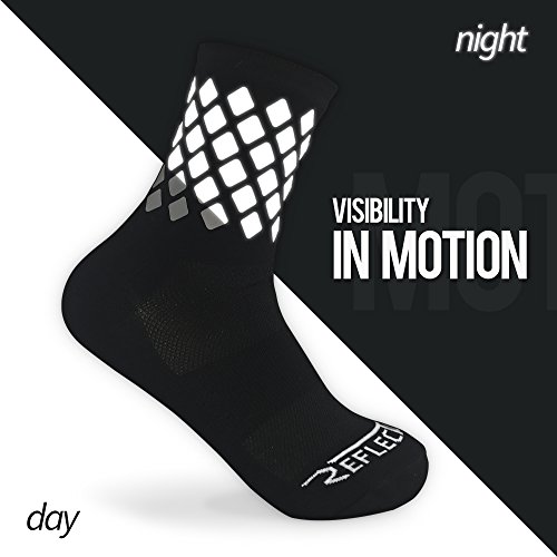 High Reflective Cycling and Running Socks – Night Safety Running Gear (S, Black) For Sale