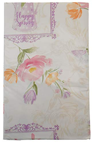 Spring Fling Victorian Picture Frames with Butterflies and Watercolor Flowers Vinyl Flannel Backed Tablecloth on Creme Background (60