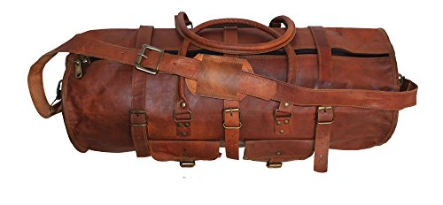 HLC Vintage Genuine Leather Handmade Vintage Duffel Luggage Travel Bag Duffel Gym Travelling Bag