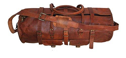 HLC Vintage Genuine Leather Handmade Vintage Duffel Luggage Travel Bag Duffel Gym Travelling Bag