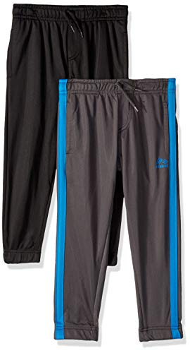 (RBX Boys' Little 2 Pack Tricot Jogger, Grey Blue/Black Solid 5/6)