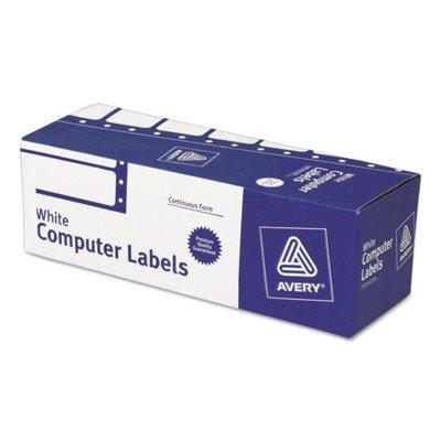 Avery Dennison 4020 Dot Matrix Printer Address Labels, 1 Across, 15/16 x 3, White, 5000/Box