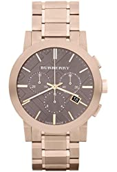 Burberry Taupe Chronograph Dial Rose Gold Plated Steel Mens Watch BU9353