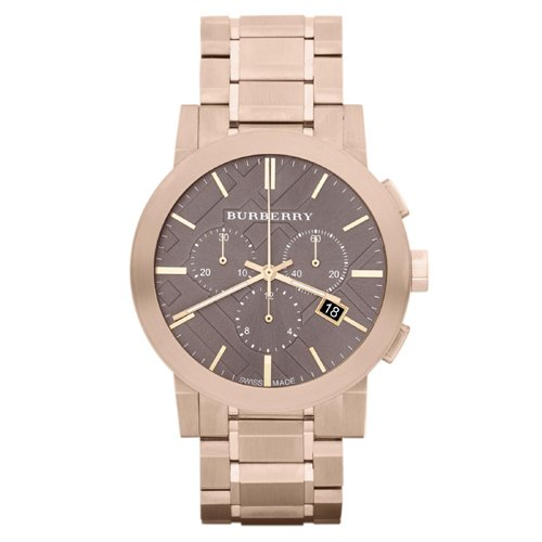 Burberry Taupe Chronograph Dial Rose Gold Plated Steel Mens Watch - Burberry Rose Pink