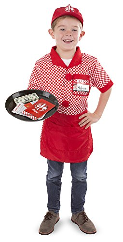 - Melissa & Doug Server Role Play Costume Dress-Up Set with Realistic Accessories