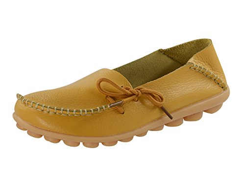 Century Star Womens Knotted Lace Loop Leather Loafer Moccasin Boat Shoes Slipper Moccasin Yellow