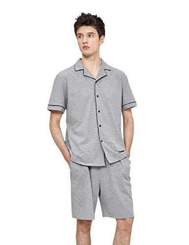 La Il Estate Uomo Pigiama In Grey Manica Cardigan Corta Set Risvolto Tempo Libero Classiche Per Ragazzi Cotone Abbigliamento Casa SqPWZSx