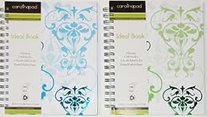 Carolina Pad - Cuaderno con encuadernación en espiral, 120 páginas en blanco y con estampados, 3 secciones, 2 separadores y 1 bolsillo doble, 22,2 x 17,7 cm, diseño con estampado floral provenzal, color blanco, verde y azul