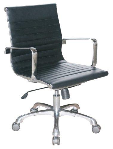 Joplin Group Mid Back Chair in Black Eco Leather by Woodstock by Woodstock Marketing