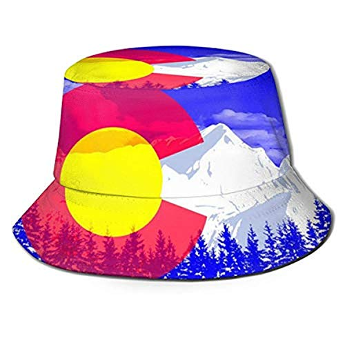 Travel Bucket Hats Men Teens Wide Brim Relaxed Fit Boonie Hat Sun Hat Colorado Flag Pop Art Royal BlueOne Size