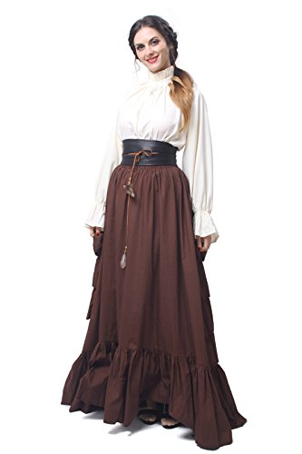 Gentlewoman Costume (Women Victorian Dress Stand Collar Lolita Fancy Dresses(M,white&dark brown))