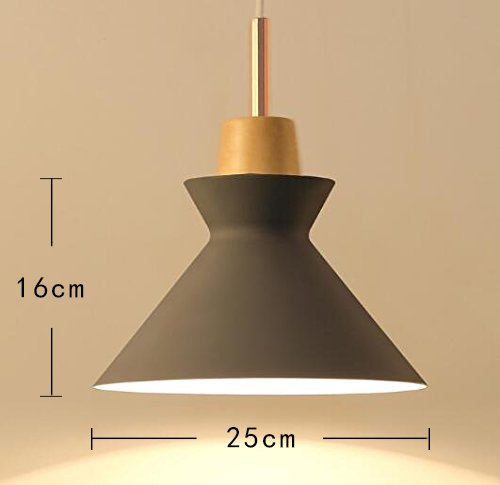 ANYE 15ft UL Transparent Plug-In Cord Dark Grey Lamp Shade With On/Off Dimmer Switch Modern Creative Chandelier Aluminum Wood Base Pendant Lighting Bulb Not Included