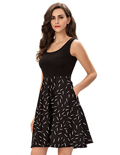 One Sight Women's Vintage Scoop Neck Midi Dress Sleeveless A Line Swing Floral Tank Dress with Pockets, Black, - Sight One