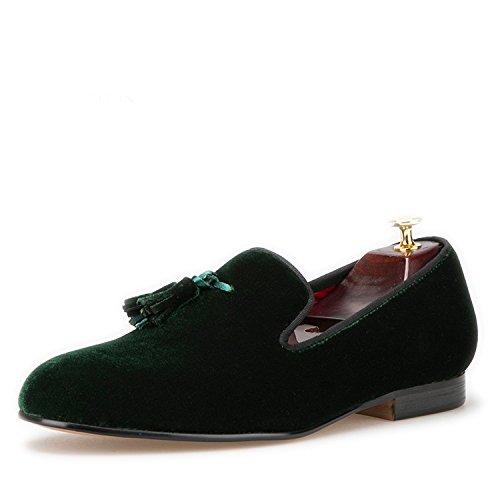 f167bb389290d HI&HANN Tassel Men's Velvet Loafer Shoes Slip-on Loafer Round Toes Smoking  Slipper
