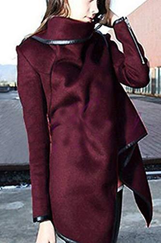 Irregularmente Wined Termica Collar Cómodo High Outwear Chaquetas Casuales Asimetricas Elegantes Estilo Abrigos Abrigo Invierno Moda Otoño Chaqueta Mujer Especial Lana 4HqtZ1q