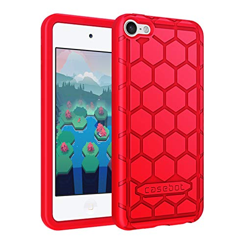 (Fintie Silicone Case for iPod Touch 7 iPod Touch 6 iPod Touch 5 - (Honey Comb Series) Impact Shockproof Anti Slip Soft Protective Cover for iPod Touch 7th 6th 5th (Kids Friendly), Red )