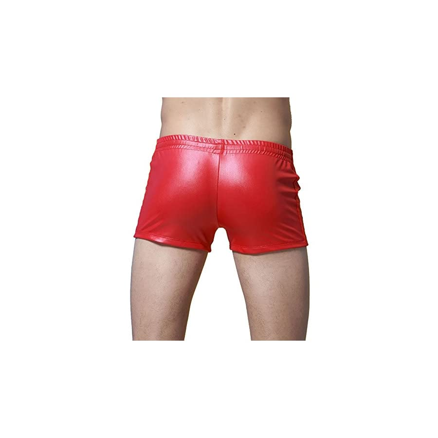 Colors of Rainbow Rainbow25 Patent Leather Swimming Trunks Beach Boxer Shorts Mens Swimwear with Drawstring