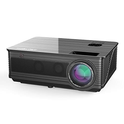 "Abdtech 3600 Lumens Led Movie Projector,Multimedia 200""LCD Video Projectors with Two Built-in Speaker Optical Keystone,Support 1080P USB AV SD HDMI TF VGA PS4 for Home Theater Movie Night Gaming"