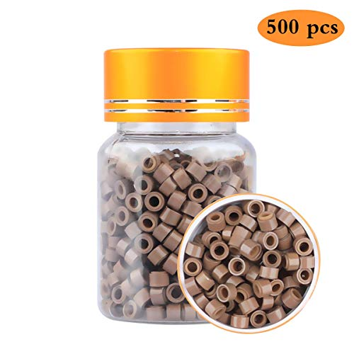 Extension Clamp - 500pc 5mm Hair Extension Silicone Micro Link Rings Lined Beads for Stick Hair Extension (LIGHT BROWN)