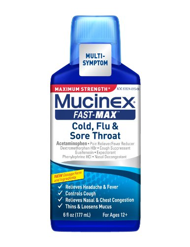 Mucinex Fast-Max Adult Liquid for Cold, Flu and Sore Throat, 6 Ounce