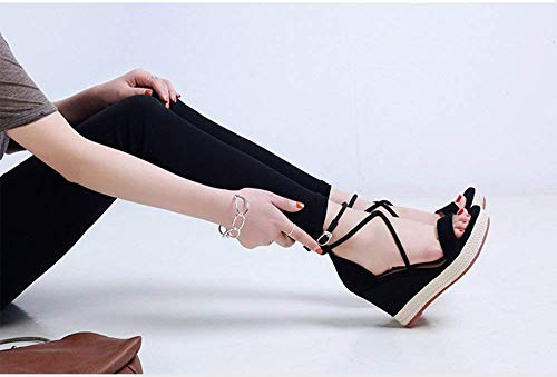 Tacchi Black9cm Sandali Dimensione Punta Con 34 Eeayyygch Black9cm Aperta Estivi Sandalo Borsa A 9cm Impermeabile Nero Zeppa Elasticizzati Eu colore xXaFaHqO