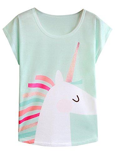 - Futurino Women's Summer Colorful Bow Tie Unicorn Print Short Sleeve T-Shirt Tops (M, Mint Green)