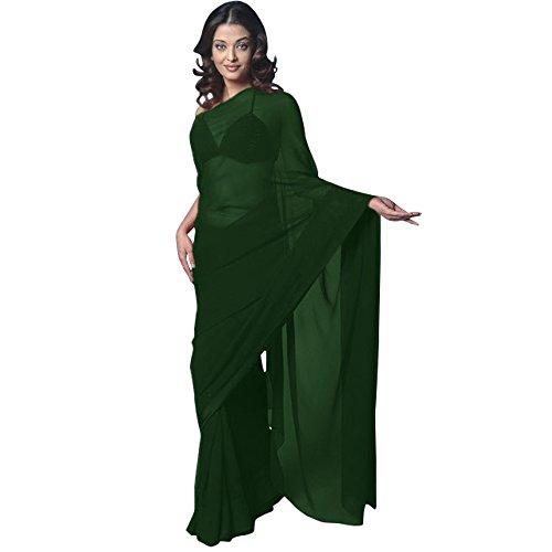 Chiffon Bollywood BellyDance Indian Saree Sari - Darkgreen