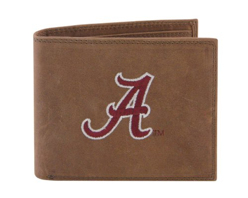 NCAA Alabama Crimson Tide Zep-Pro Crazyhorse Leather Passcase Embroidered Wallet, Light Brown by ZEP-PRO