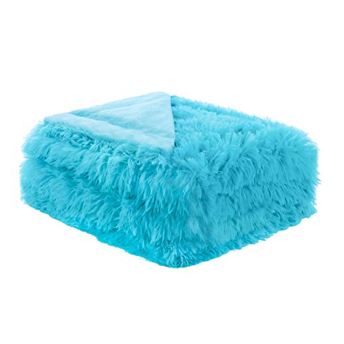 uxcell Solid Faux Fur Queen Size Blanket 78 inches x 90 inches - Decorative Fuzzy Long Shaggy Blankets Lightweight Long Fur Microfiber Fleece Blanket for Bed - Keep Warmth for Years,Sky Blue