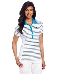 Puma Golf Women's Yarn Dye Stripe Polo, Brilliant Blue-White, X-Small