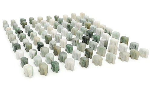VietsWay 20 Burmese Jade Elephant Carvings 1500 Carats 1.5 cm Gemstones Wholesale Lot