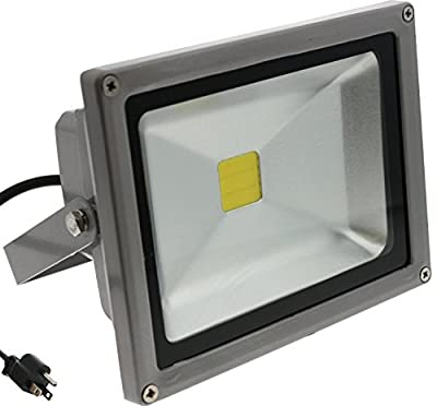 TDLTEK 20W LED Waterpoof Outdoor Security Floodlight 100-240VAC, With Plug, Warm White