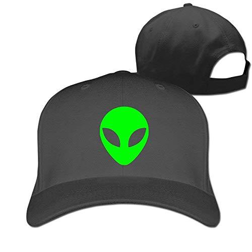 - Classic Adult Green Alien Head UFO Cartoon ET Sun Cap Hat Black