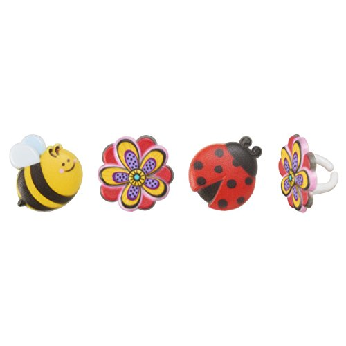 Ring Yellow Ladybug - Spring Blossom Ladybug and Bumble Bee Cupcake Rings - 24 pc