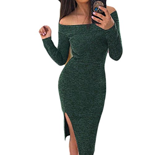 Cut Hip Blackish Dress Out Coolred Package Solid Party Green Shoulder Off Bodycon Women waaI6qU