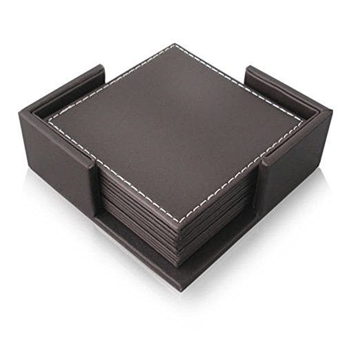 E.Morningstar PU Leather Drink Coasters Table Mats with Holder for Cup Glass Tableware, Square Coaster, 4