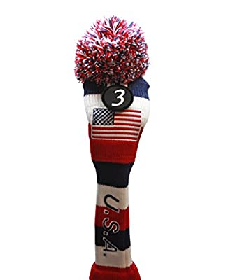 USA Majek Golf Club #3 Fairway Wood Pom Pom Knit Classic Traditional Retro Head Cover Headcover for Metal Woods
