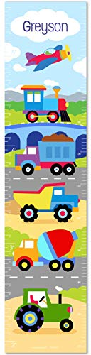 Trains, Planes and Trucks Personalized Canvas Growth Chart By Olive Kids