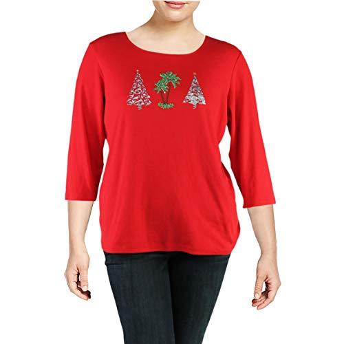 Karen Scott Womens Plus Tree Embellished Holiday Pullover Top Red 3X from Karen Scott