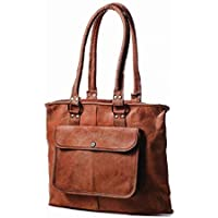 Pascado Women's top handle genuine leather tote purse bag 15 inch with zipper
