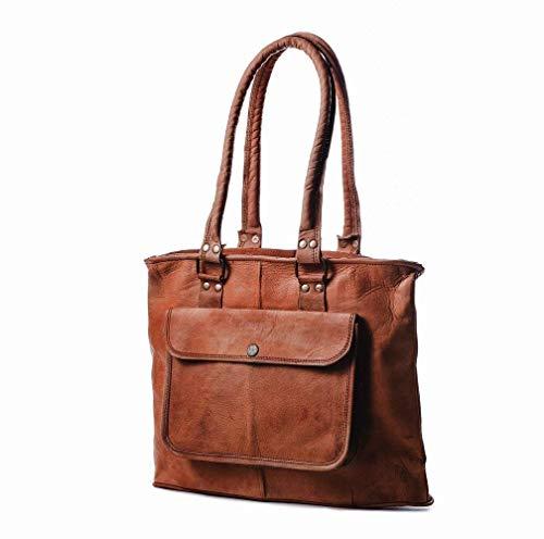 Pascado Women's top handle genuine real Vintage leather tote purse shoulder satchel bag 15 inch with zipper
