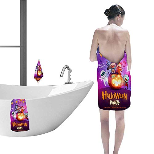 FootMarkhome 100% Cotton 8 Piece Towel Set,Halloween Celebration Fun Party Group of Kids in Halloween Costume Sitting on a Giant Pumpkin 1 Bath Towels, 1 Hand Towels and 1 Washcloths.